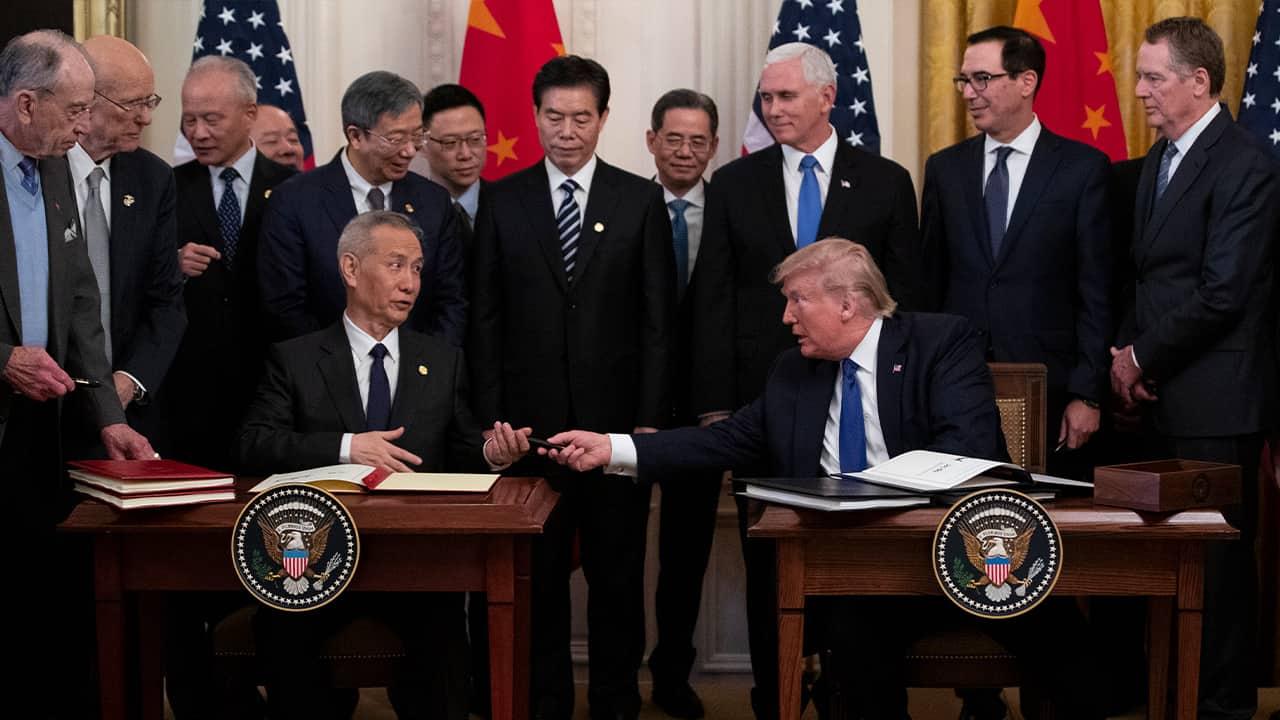 Photo of President Donald Trump Chinese Vice Premier Liu He