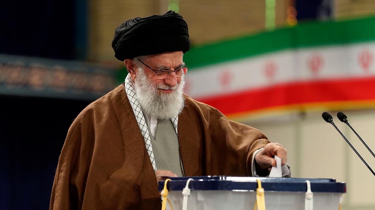 Photo of Supreme Leader Ayatollah Ali Khamenei casting his ballot