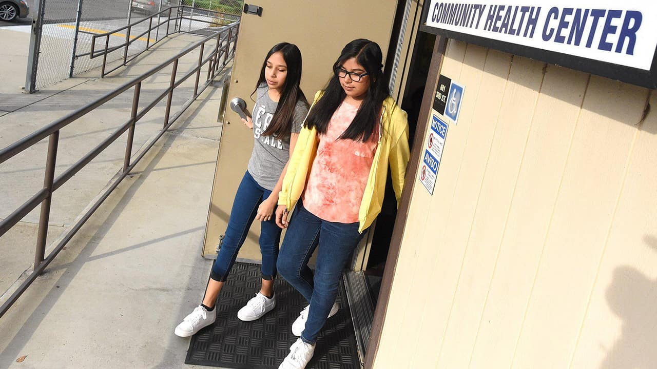 Photo of twins Hailey, left, and Ashley Resendez