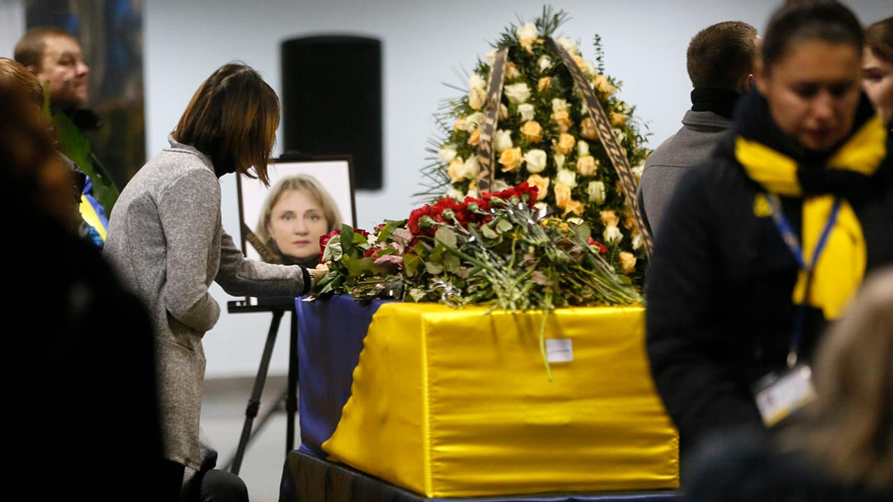 Photo of a tribute to a flight crew member of the Ukrainian 737-800 plane that crashed on the outskirts of Tehran