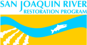 logo of the San Joaquin River Restoration Program showing an illustrated salmon swimming in a lane of blue water