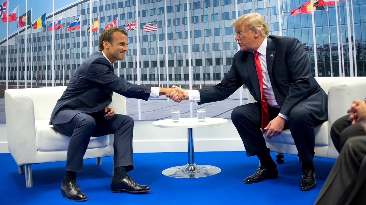 Photo of French President Emmanuel Macron and President Donald Trump