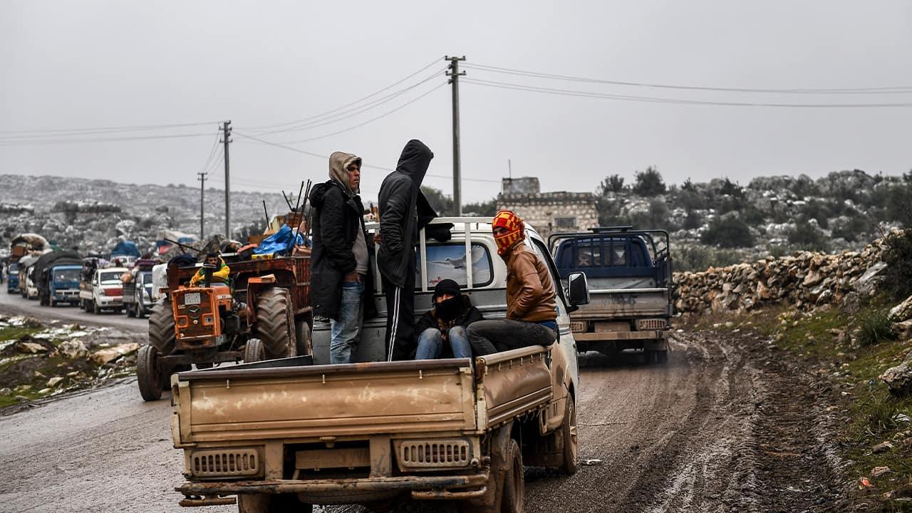 Photo of Syrian civilians fleeing