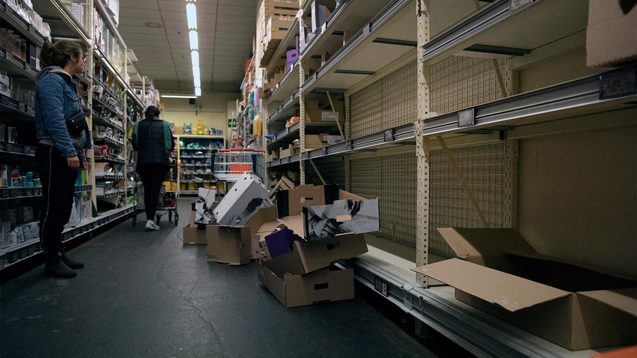 Photo of empty store shelves in Belgium