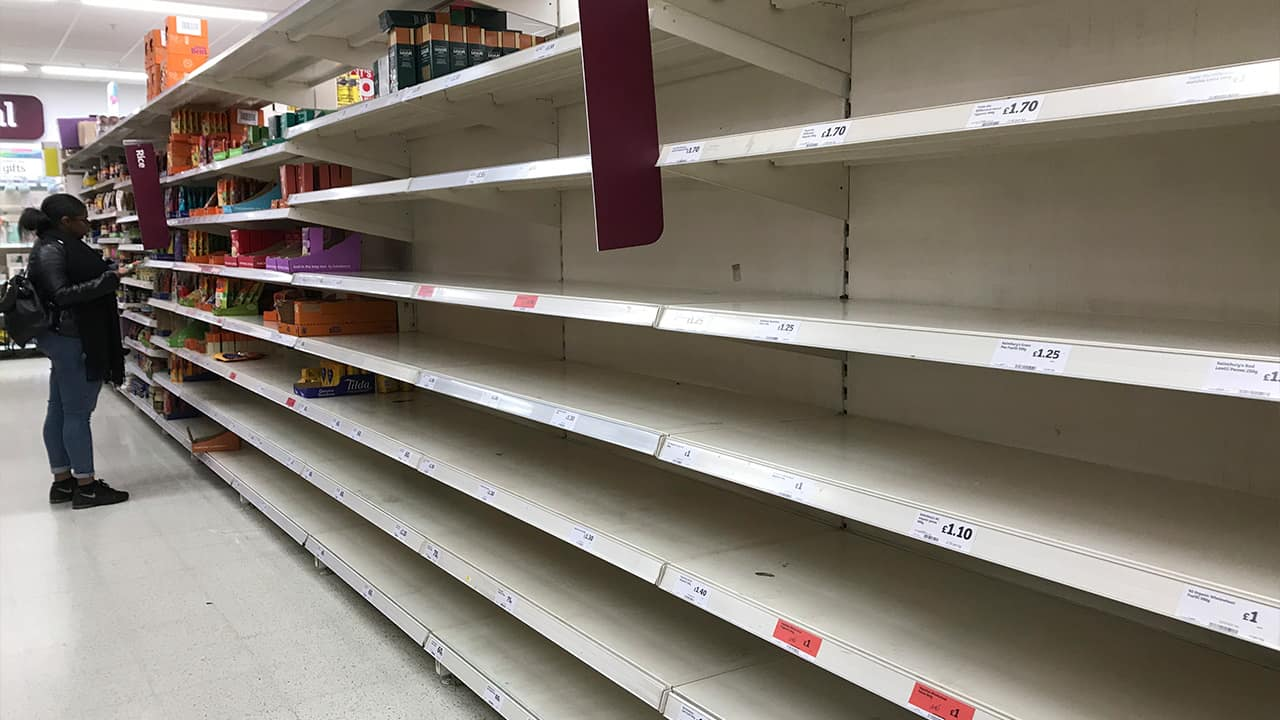 Photo of empty store shelves in London