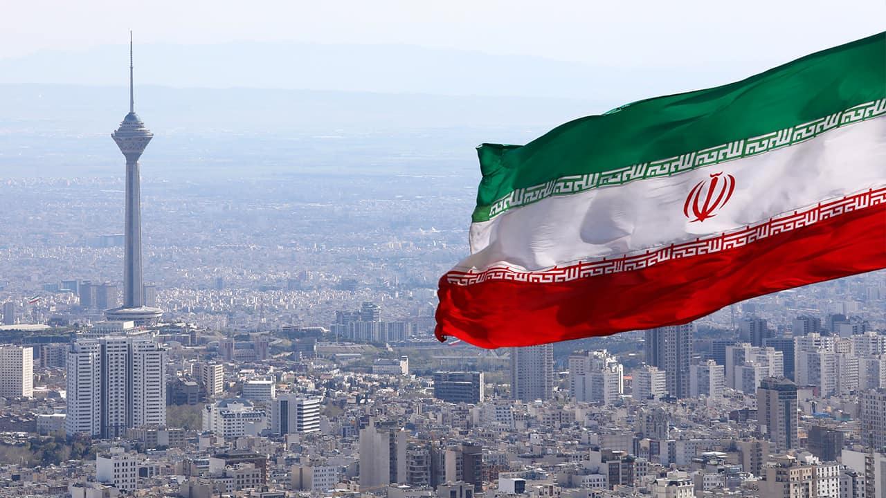 Photo of Iranian flag waving