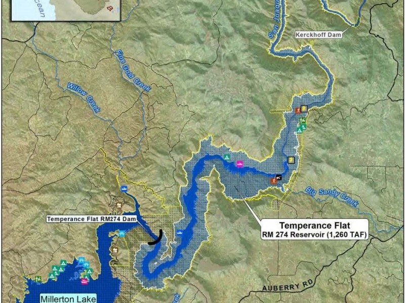 Map of the study area for the proposed Temperance Flat dam northeast of Fresno, California