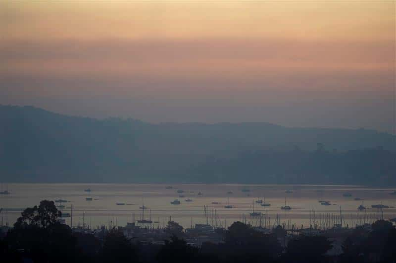 Photo of smoke from wildfires hovering over Richardson Bay
