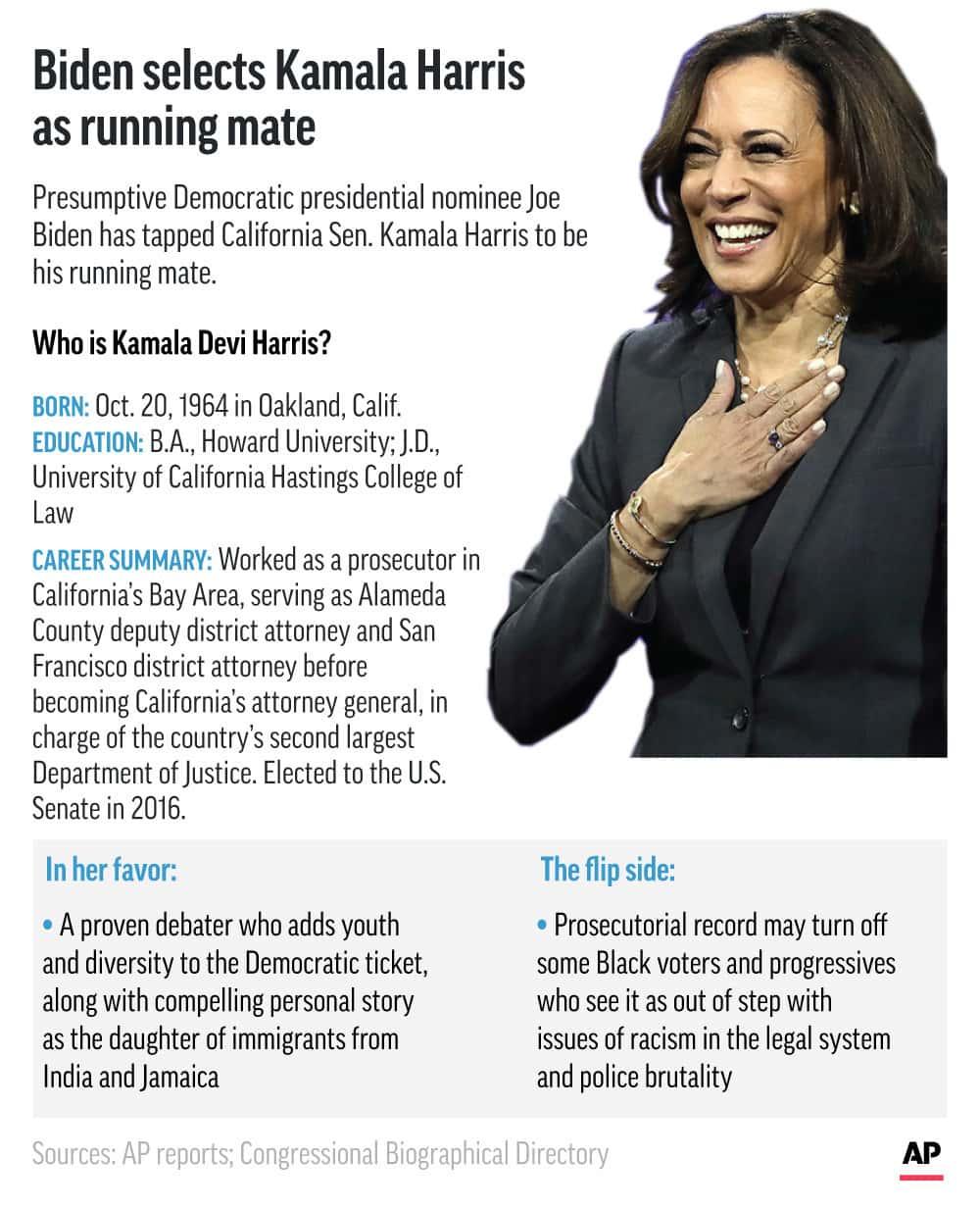 Graphic snapshot of Kamala Harris' political career