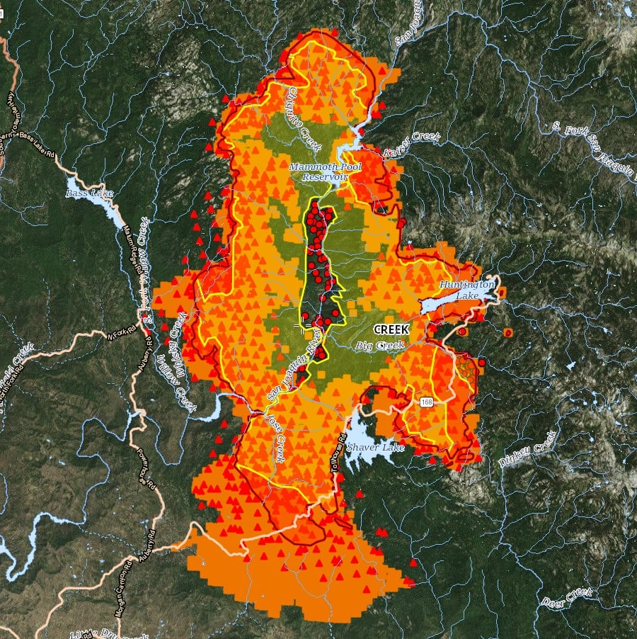 Color aerial map of the 2020 Creek Fire