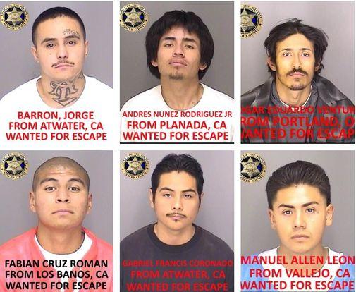 Mug shots of six Merced County jail escapees